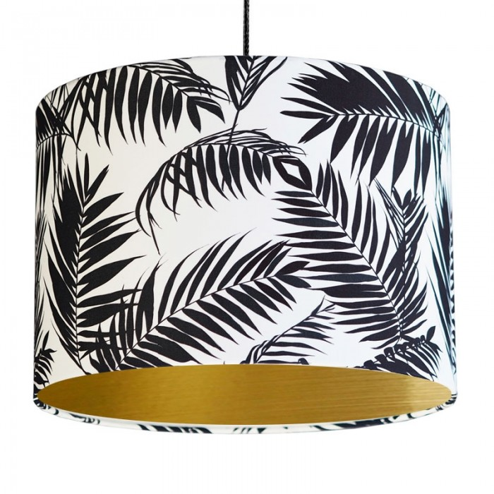Black and White Tropical Leaf Lampshade - Gold