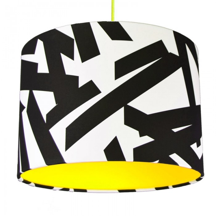 Monochrome Abstract Lampshade - Neon Yellow