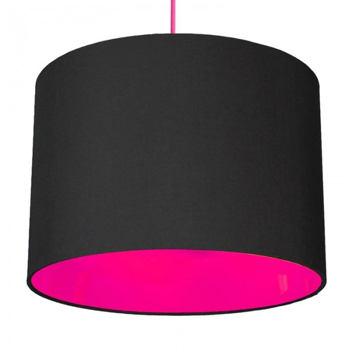 Neon Lined Lampshade - Black & Pink