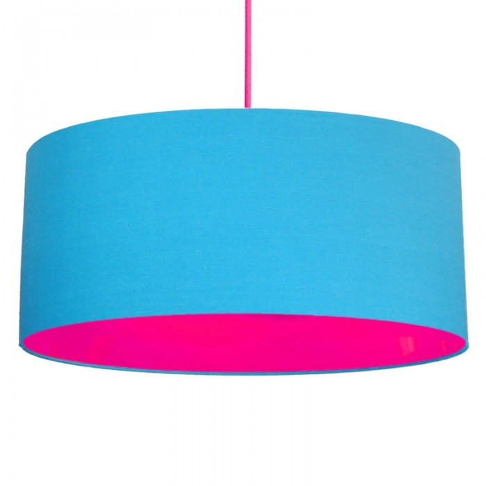 Neon Lined Lampshade - Light Blue & Pink
