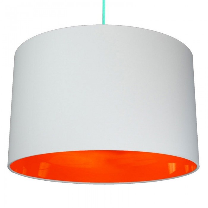 Neon Lined Lampshade - Light Grey & Orange
