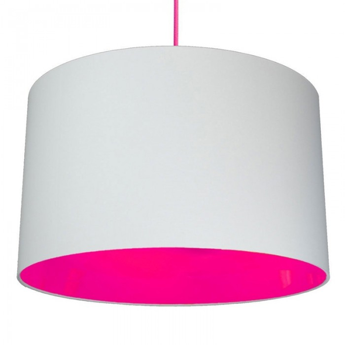 Neon Lined Lampshade - Light Grey & Pink