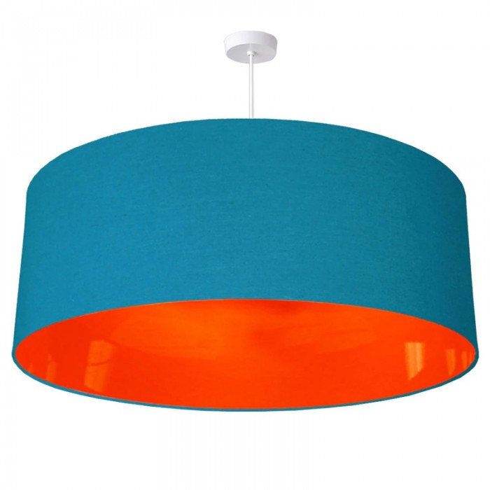Neon Lined Lampshade - Peacock & Orange