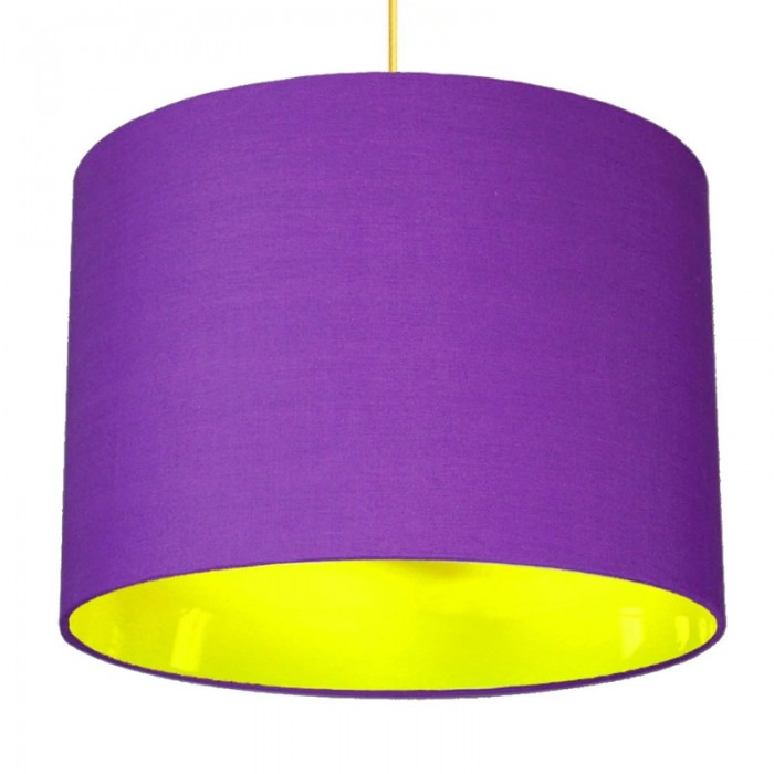Neon Lined Lampshade - Purple & Yellow