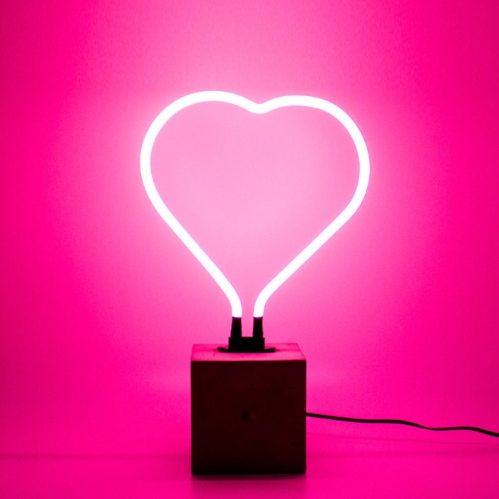 Neon Heart Table Lamp Sign - Pink