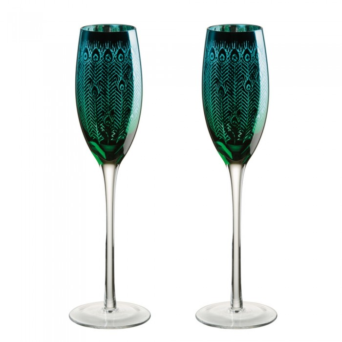 Peacock Champagne Flute - Set of 2