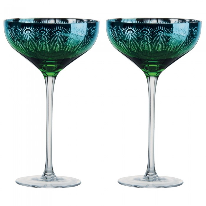 Peacock Champagne Saucer - Set of 2