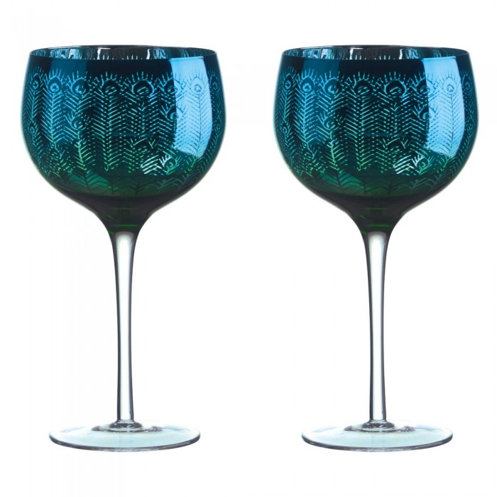 Peacock Gin Glass - Set of 2