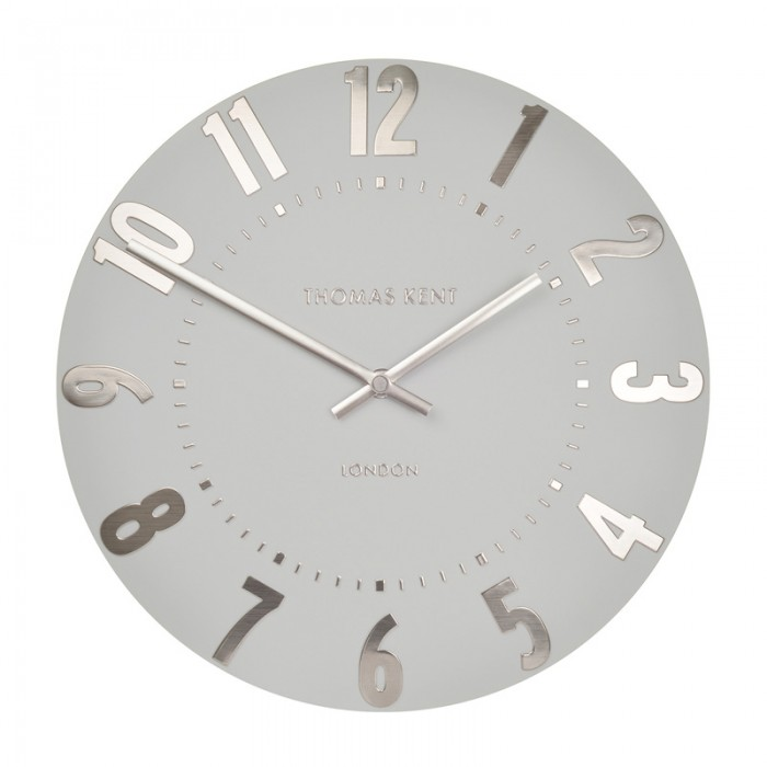 Thomas Kent Mulberry Clock Silver Cloud - 12 Inch