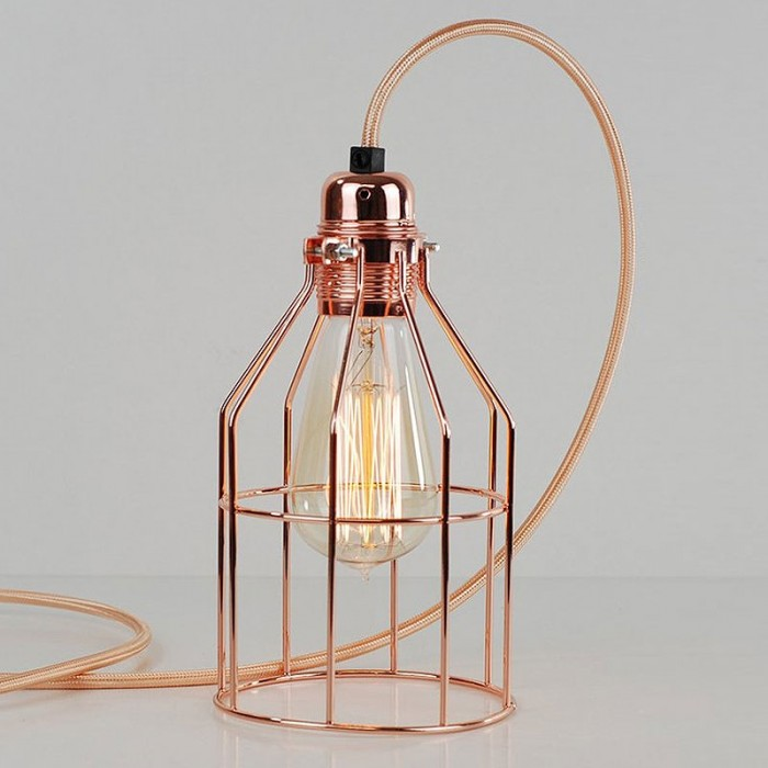 Bird Cage Lamp - Polished Copper