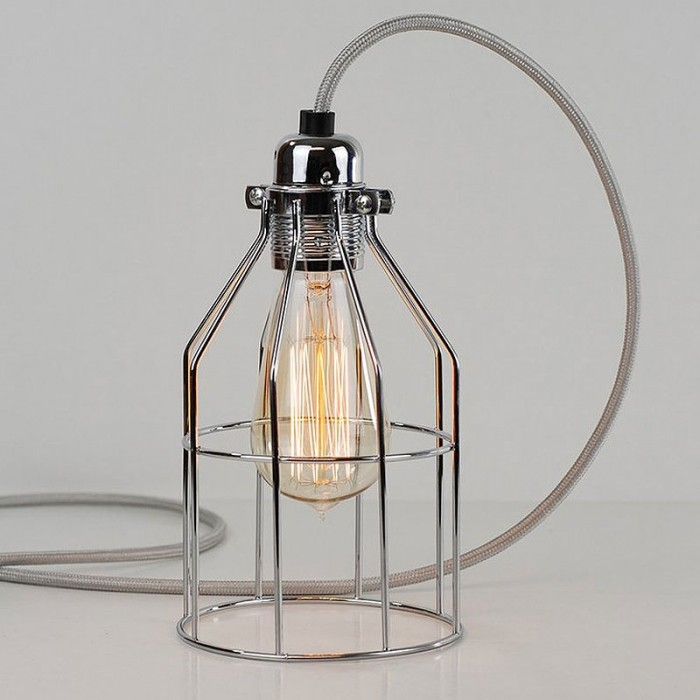 Bird Cage Lamp - Polished Steel