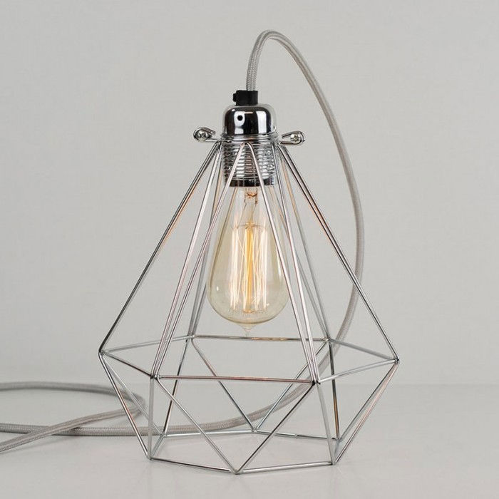 Diamond Cage Lamp - Polished Silver