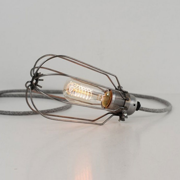 Drop Cage Lamp - Raw Steel