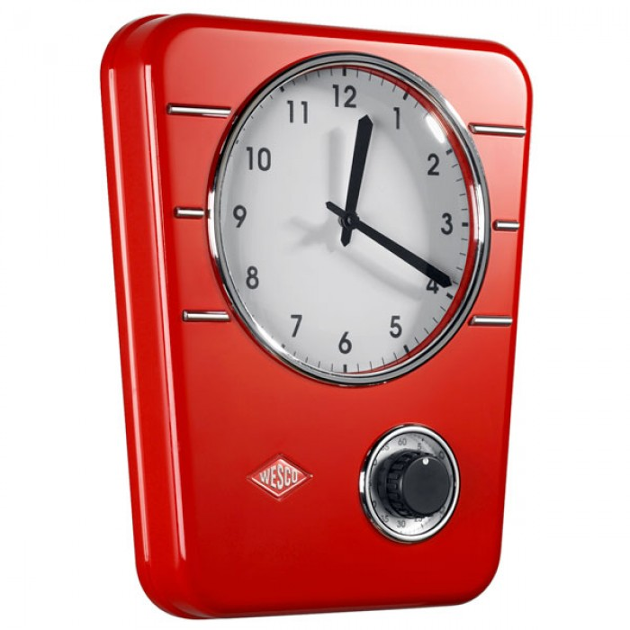 wesco classic line kitchen clock  red  red candy