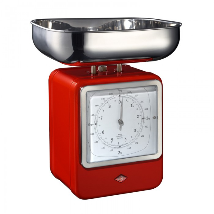 Wesco Retro Scales with Clock - Red