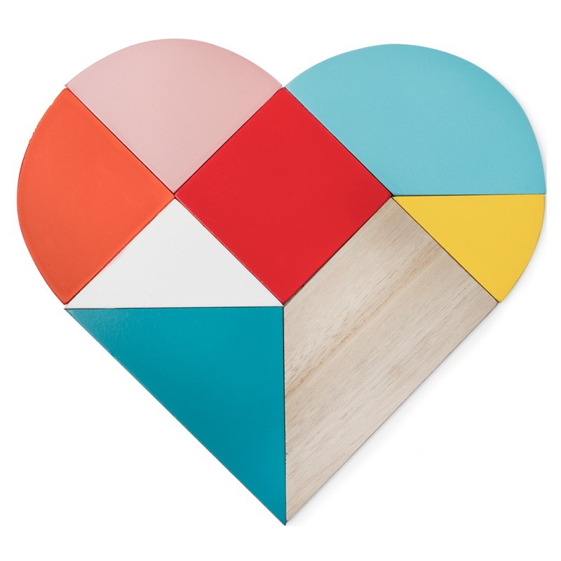 Heart Tangram Trivet & Coasters (Multi-coloured) - Red Candy