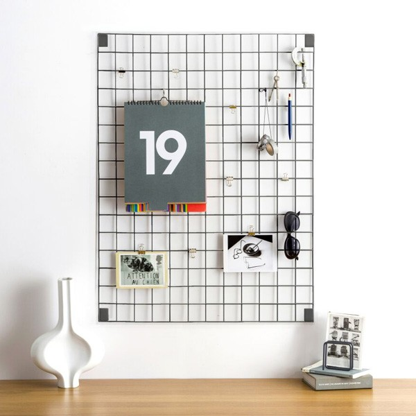 Block Wire Mesh Memo Board Grey Red Candy