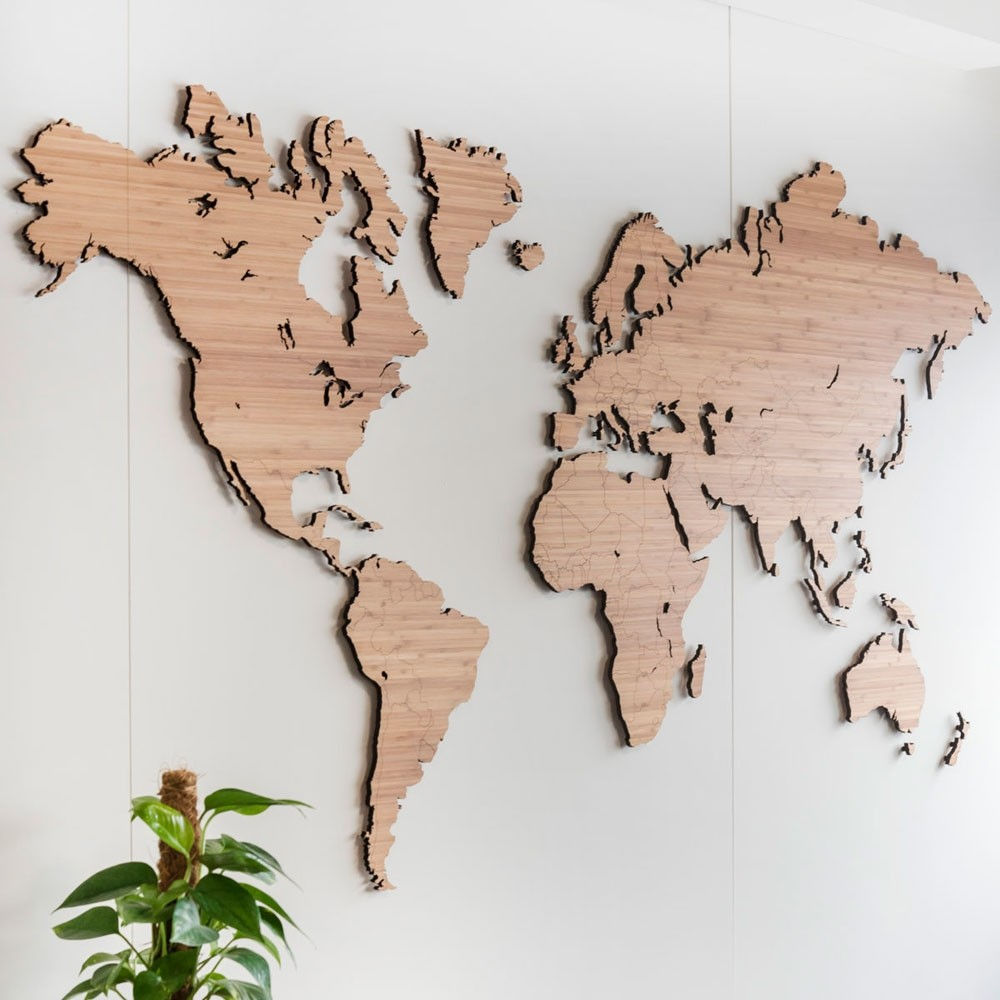 Wooden World Map Wall Art Bamboo Red Candy
