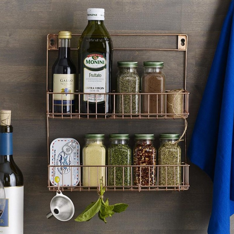 Lincoln Copper Spice Rack Wall Mounted Spice Holder