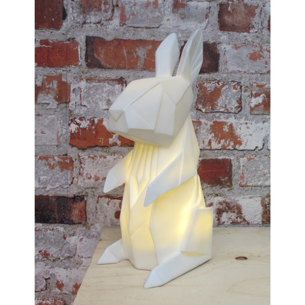 White Origami Rabbit Lamp Red Candy