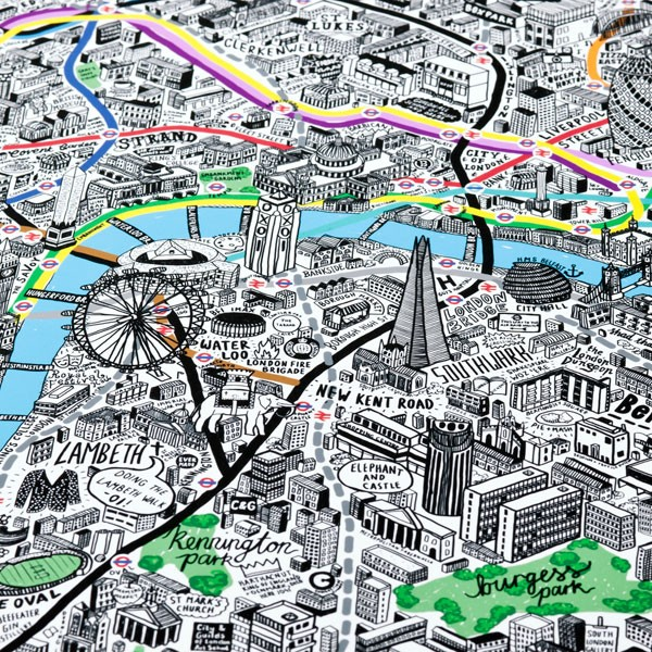 Hand Drawn Map Of London Framed Print Illustrated Art: Map Of London Print At Infoasik.co