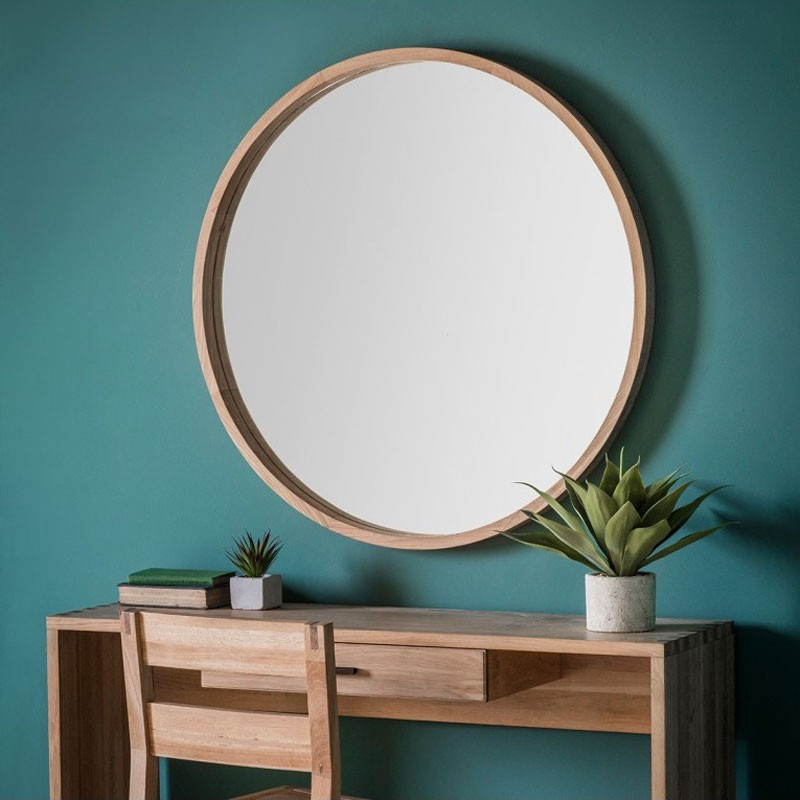 Large Round Natural Wood Mirror 100cm Red Candy