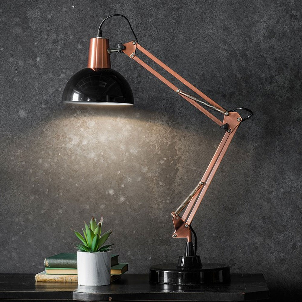 Poseable Table Lamp Black Bronze Red Candy