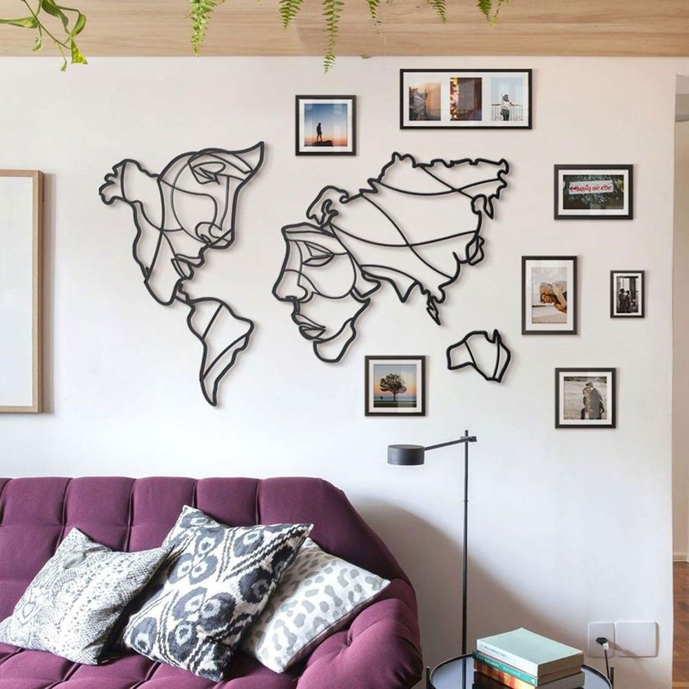 Faces Of The World Map Metal Wall Art Red Candy