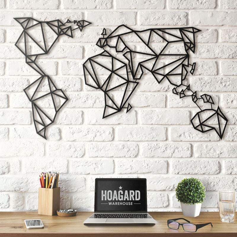 Geometric World Map Black 2 Sizes Red Candy
