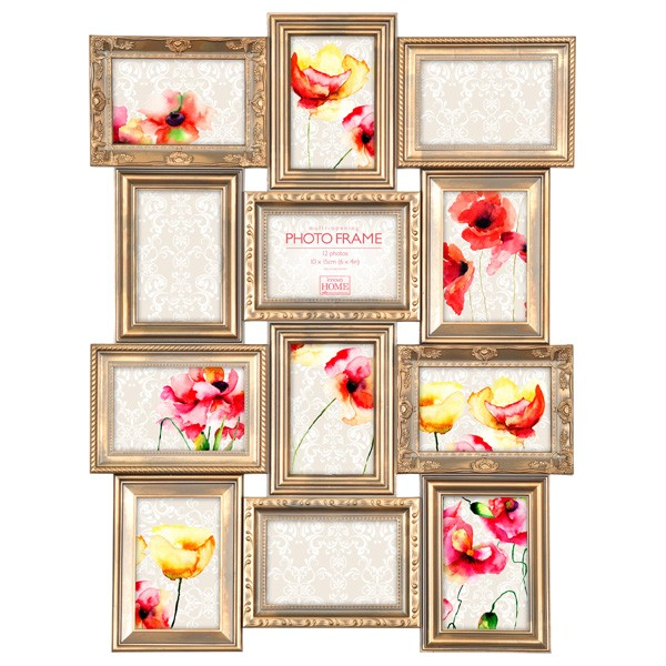 Maggiore gold multi photo frame antique style photo display for Small vintage style picture frames