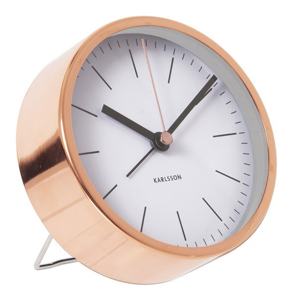 karlsson alarm clock minimal white designer copper
