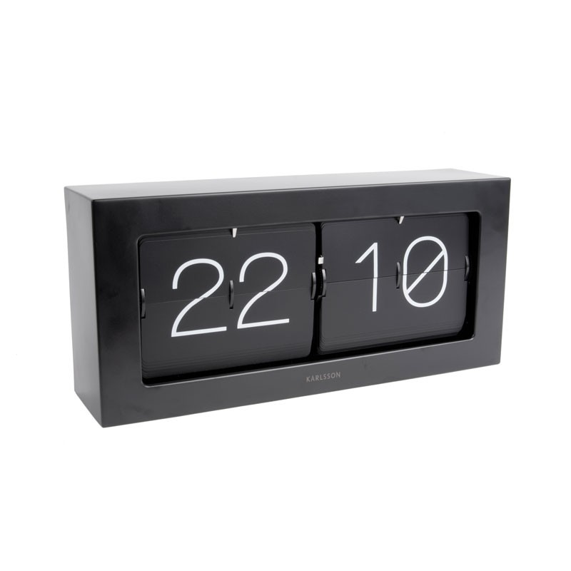 Karlsson Boxed Flip Clock Large Black Red Candy