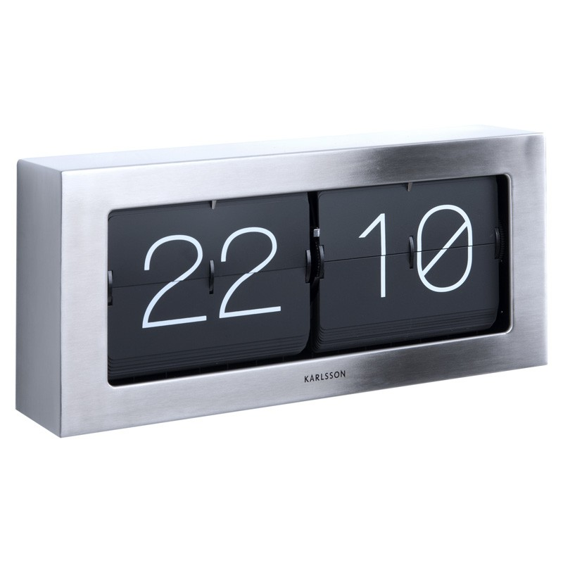 Karlsson Boxed Flip Clock Large Steel Red Candy