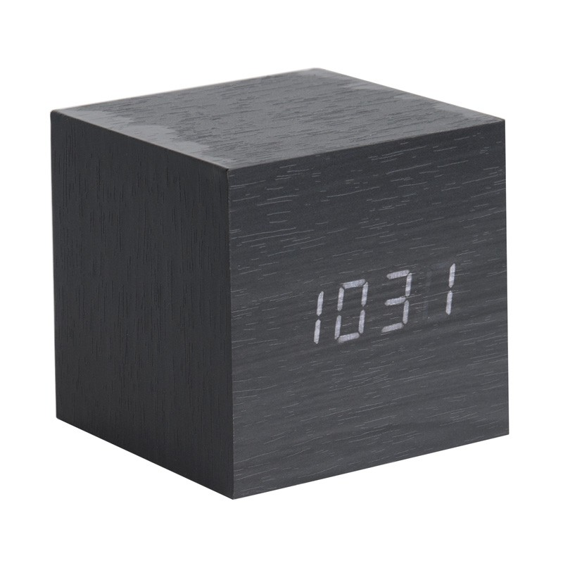 karlsson cube led clock black wood block alarm clock. Black Bedroom Furniture Sets. Home Design Ideas