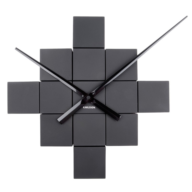 DIY Cubic Wall Clock Black Red Candy