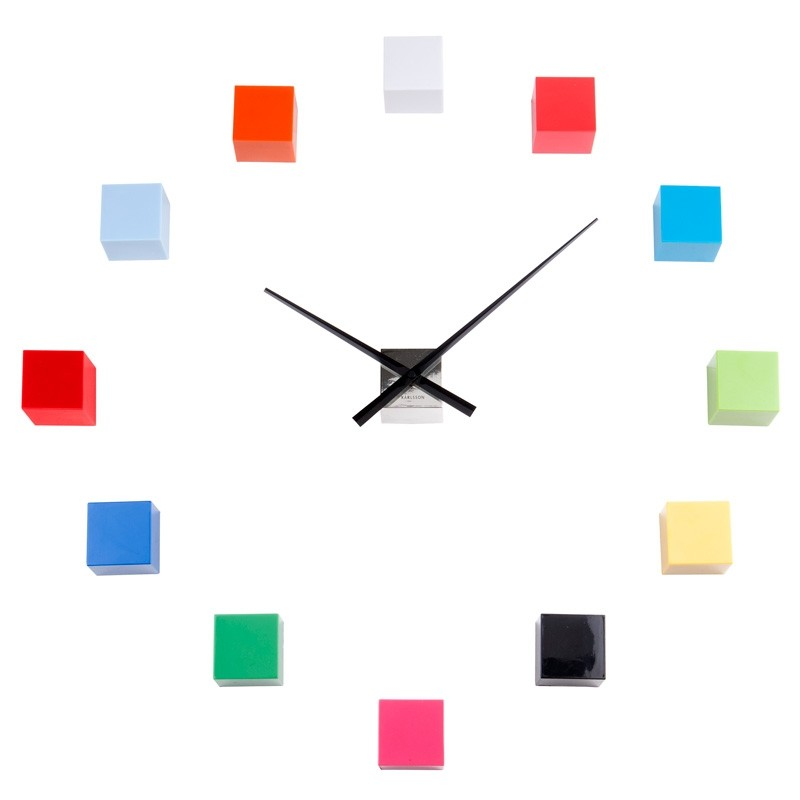 DIY Cubic Wall Clock Multi Colour Red Candy