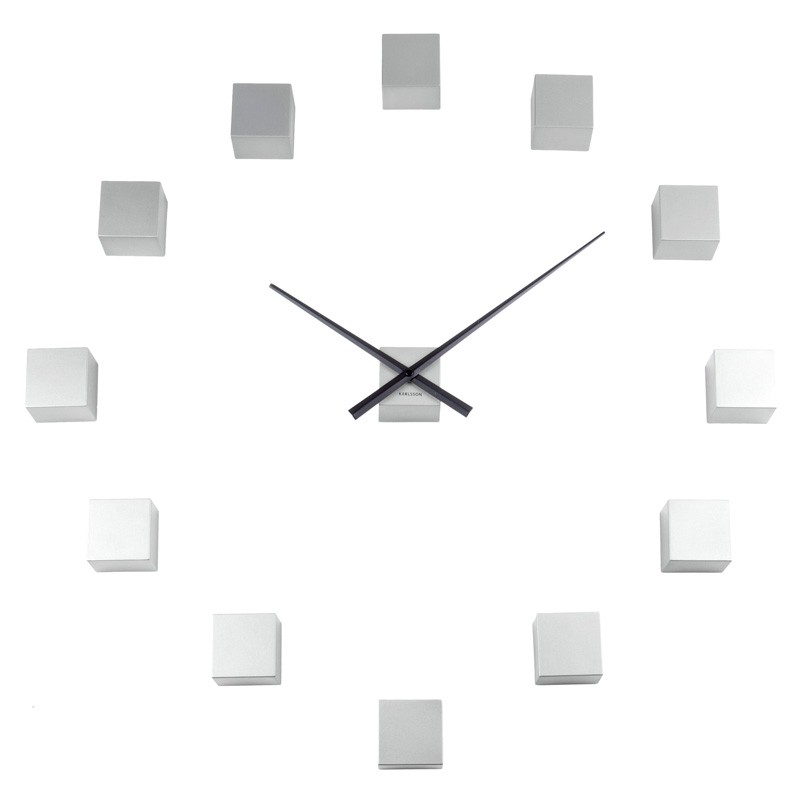 DIY Cubic Wall Clock Silver Red Candy