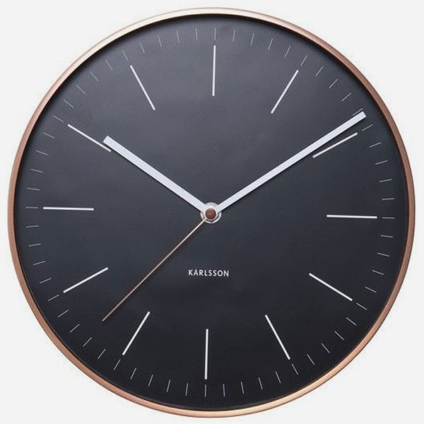 karlsson minimal copper clock black metallic wall clock. Black Bedroom Furniture Sets. Home Design Ideas