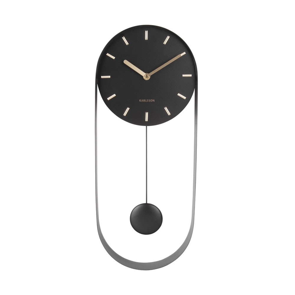 Karlsson Pendulum Charm Wall Clock Black Red Candy