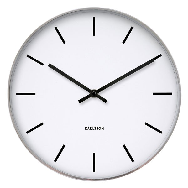 Karlsson Station Classic Wall Clock Plain White Clock