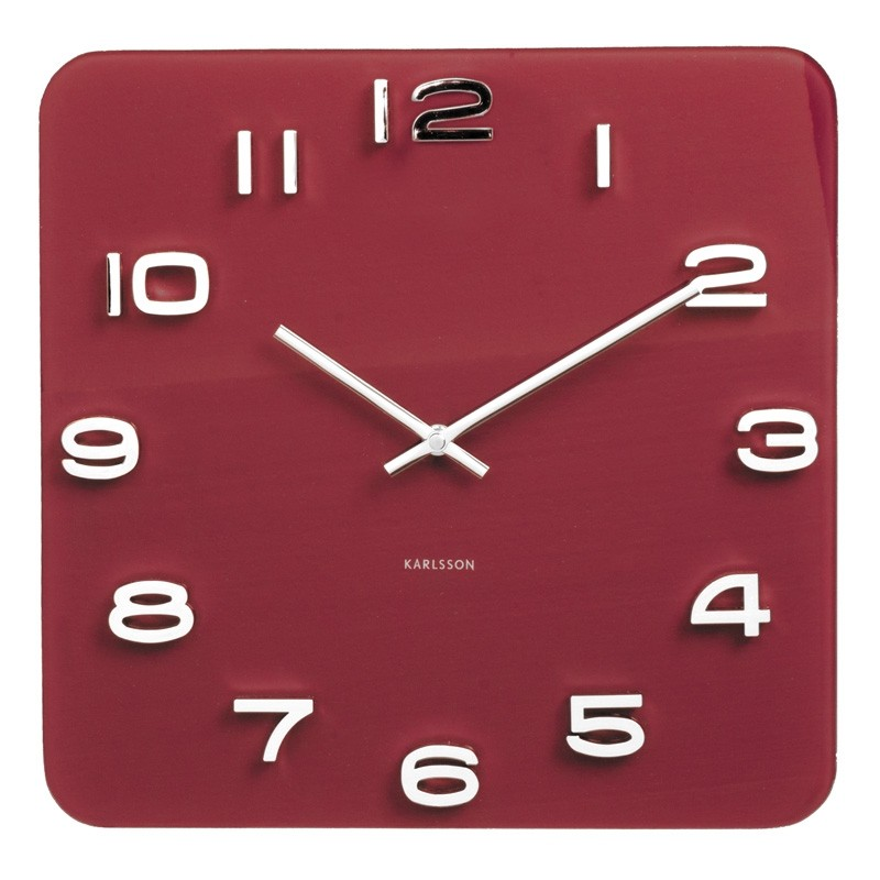 Karlsson Vintage Square Glass Clock Burgundy Red Wall