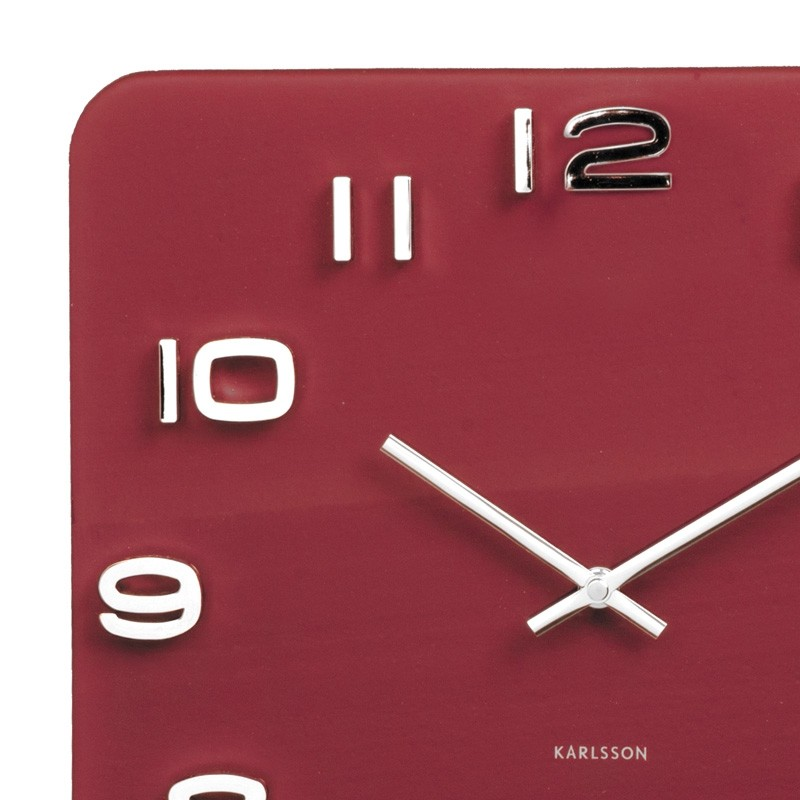 Karlsson Vintage Square Glass Clock Burgundy Red Red Candy