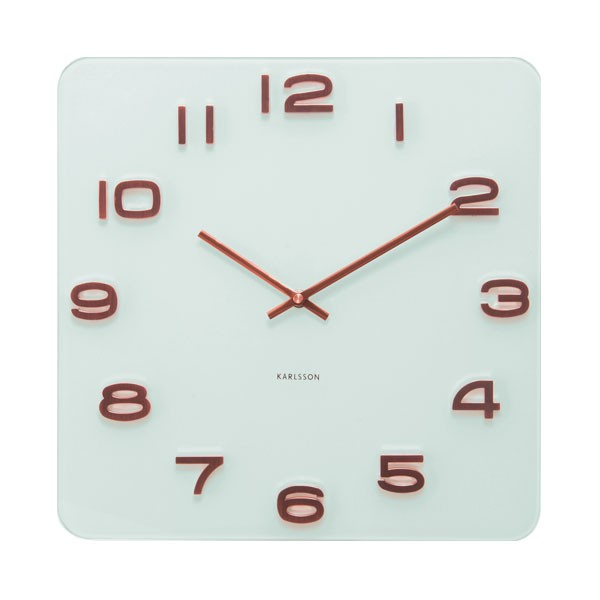 Karlsson Vintage Square Glass Clock White Amp Copper Wall