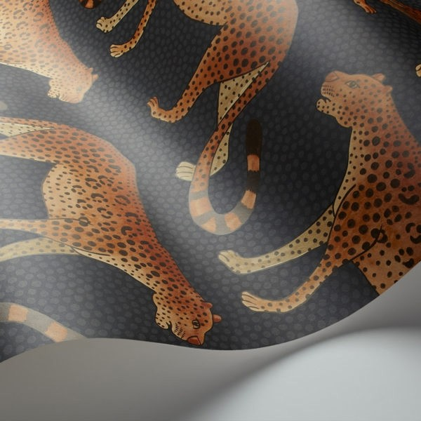 Silhouette Cotton Lampshade Leopard In Jet Black