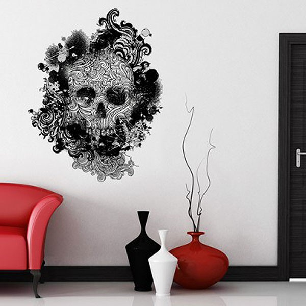 Skull Swirls Wall Sticker designer skull wall decal