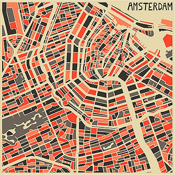 This is a photo of Slobbery Printable Map of Amsterdam