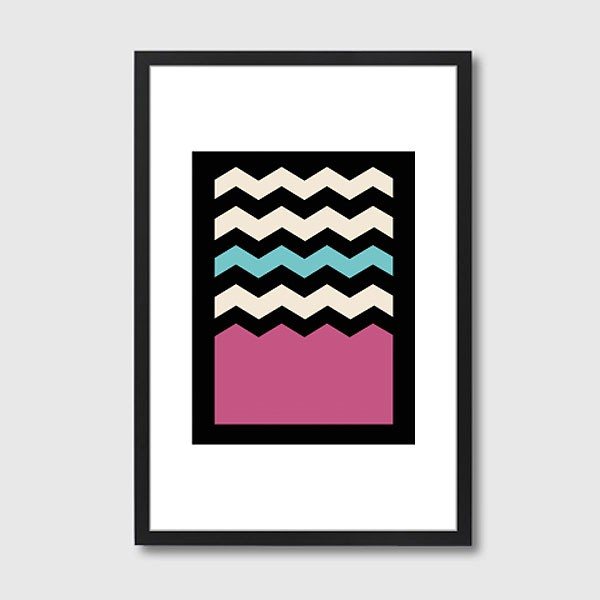 Geometric Chevron Colours 2 Framed Print - Red Candy
