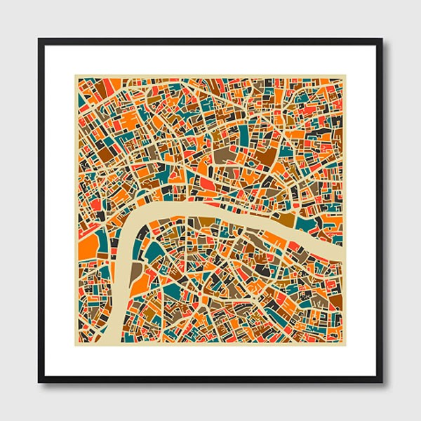 London Map Framed Print Red Candy