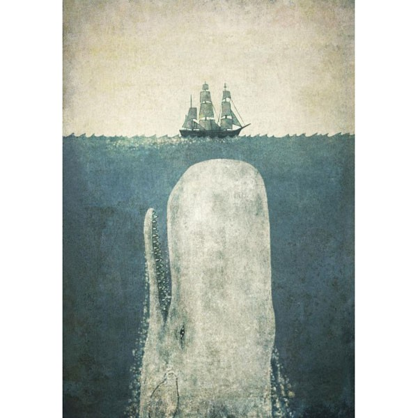 White Whale Framed Print Moby Dick Art Print