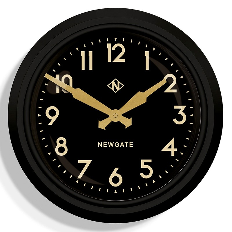 Newgate 50s Electric Wall Clock Black Red Candy